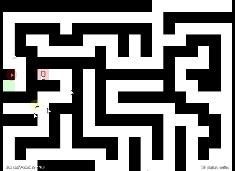 a black maze, with many cursors within it