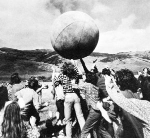 "Participants in the 1970s New Games Movement play with the ""Earth Ball"""